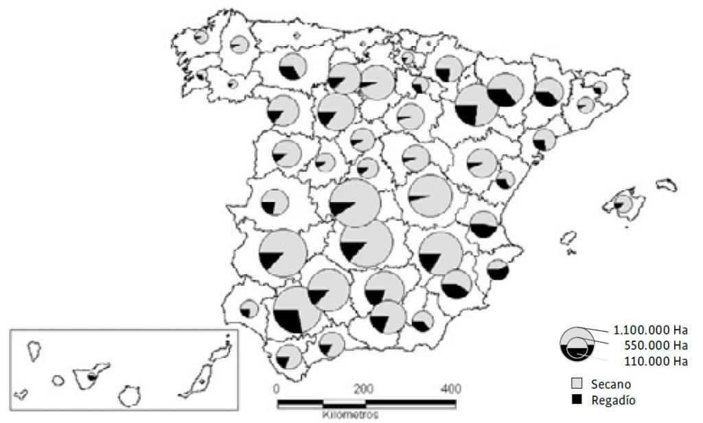 mapa de almendro en riego y en secano en España